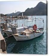 Turkish Fishing Boats Moored At Bozburun Canvas Print