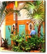 Turqoise And Orange Edifice Canvas Print