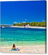Turquoise Adriatic Beach In Primosten Canvas Print
