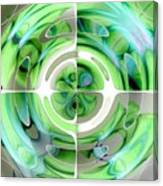 Turquoise And Green Abstract Collage Canvas Print