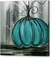 Turquoise Teal Surreal Pumpkin Canvas Print