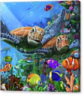 Turtles Of The Deep Canvas Print