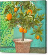 Tuscan Orange Topiary - Damask Pattern 2 Canvas Print