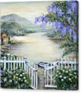 Tuscan Pond And Wisteria Canvas Print