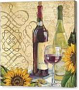Tuscan Wine And Sunflowers Canvas Print