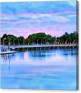 Twilight City Lake View Canvas Print