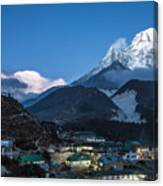 Twilight Over Pangboche In Nepal Canvas Print
