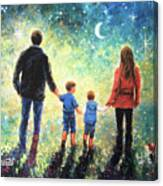 Twilight Walk Family Two Sons Canvas Print