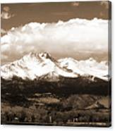 Twin Peaks In Sepia  Canvas Print