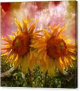 Twin Sunflowers Canvas Print