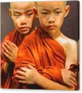 Twins In Orange Canvas Print