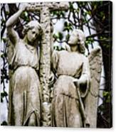 Two Angels With Cross Canvas Print