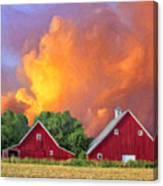 Two Barns At Sunset Canvas Print