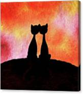 Two Cats And Sunset Silhouette Canvas Print