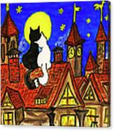 Two Cats On The Roof Canvas Print