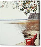 Two Chairs By The Lake's Edge In Autumn Canvas Print