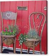 Two Chairs With Plants Canvas Print