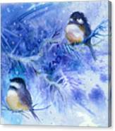 Two Chickadees In Snow Canvas Print