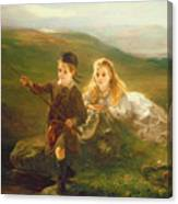 Two Children Fishing In Scotland   Canvas Print