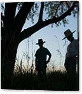 Two Children In Cowboy Hats Canvas Print