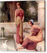 Two Classical Maidens And A Swan Canvas Print