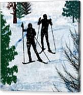 Two Cross Country Skiers In Snow Squall Canvas Print