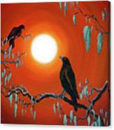 Two Crows On Mossy Branches Canvas Print