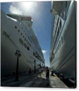Two Cruise Ships On Either Side Canvas Print