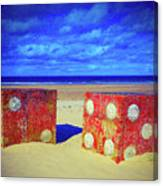 Two Dice On A Beach Canvas Print