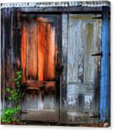 Two Doors On A Woodshed Canvas Print