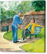 Two Englishmen In Conversation  Canvas Print