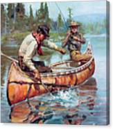 Two Fishermen In Canoe Canvas Print