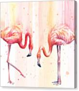 Two Flamingos Watercolor Canvas Print