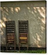 Two Folded Sun Chairs Canvas Print