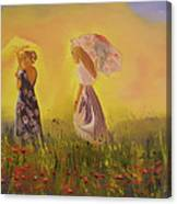 Two Friends Walking In The Field Canvas Print