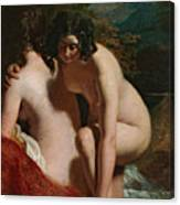 Two Girls Bathing Canvas Print