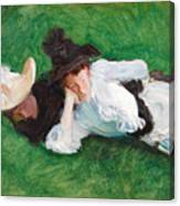 Two Girls On A Lawn Canvas Print