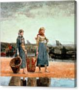 Two Girls On The Beach Canvas Print