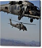 Two Hh-60 Pave Hawk Helicopters Prepare Canvas Print