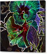 Two Hibiscus Glowing Edges Abstract Canvas Print