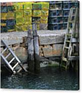 Two Ladders At High Tide Canvas Print