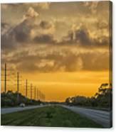 Two Lane Sunset Canvas Print