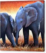 Two Little Elephants Canvas Print