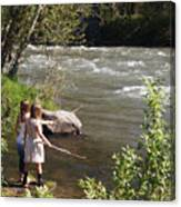 Two Little Girls Playing By The River Canvas Print