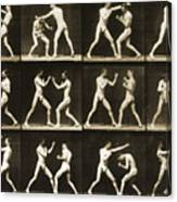 Two Men Boxing Canvas Print