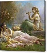 Two Nymphs By The Water Hans Zatzka Canvas Print