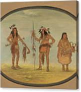 Two Ojibbeway Warriors And A Woman Canvas Print