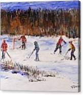 Two On Two On The Frozen Pond Canvas Print