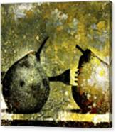 Two Pears Pierced By A Fork. Canvas Print