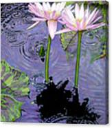 Two Pink Lilies In The Rain Canvas Print